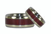 Purpleheart Wood Titanium Ring Set with Green Gold - Hawaii Titanium Rings  - 2