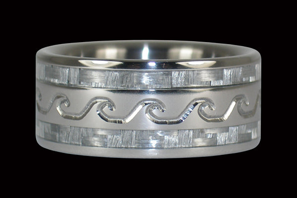 Surfs Up White Carbon Fiber Wedding Band