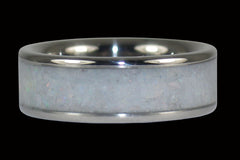 White Opal Titanium Ring - Hawaii Titanium Rings  - 1