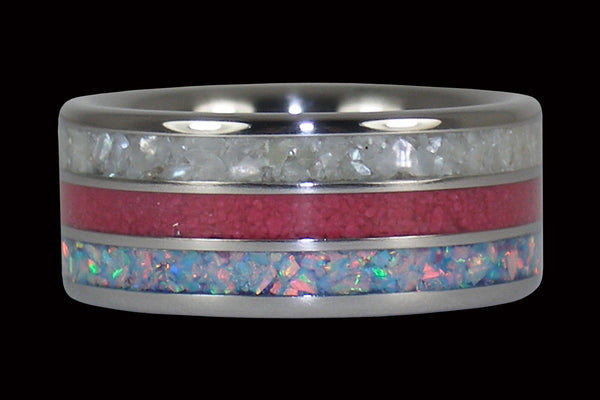 White Pearl, Blue Fire Opal, and Pink Ruby Titanium Ring Band Stack Appearance