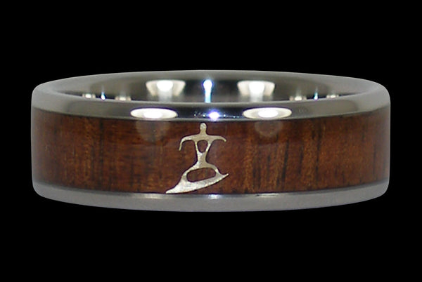 Hawaiian Koa Surfer Titanium Ring