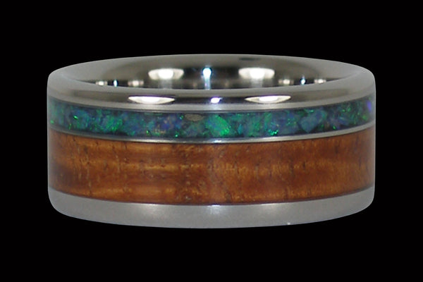 Green Australian Opal and Koa Wood Hawaii Titanium Ring®