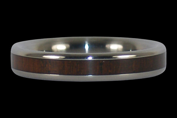 Narrow Walnut Wood Titanium Ring