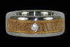 Diamond Hawaiian Wood Titanium Ring - Hawaii Titanium Rings  - 4