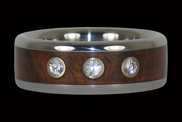 Koa Wood Titanium Ring with Three Diamonds