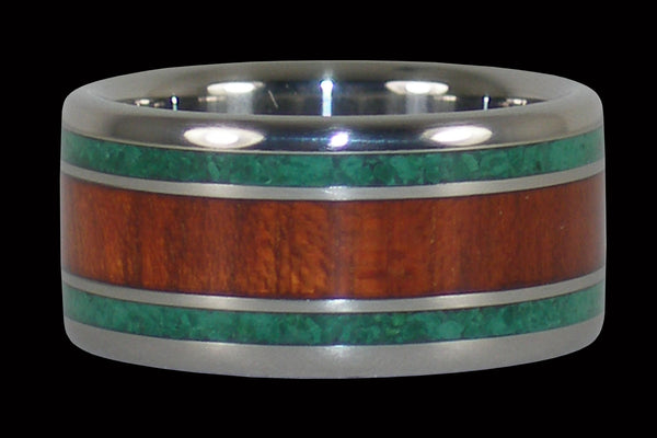 Bloodwood and Malachite Titanium Ring