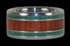 Bloodwood and Malachite Titanium Ring - Hawaii Titanium Rings  - 1