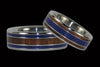 Koa Wood Titanium Ring with Lapis Inlay - Hawaii Titanium Rings  - 2
