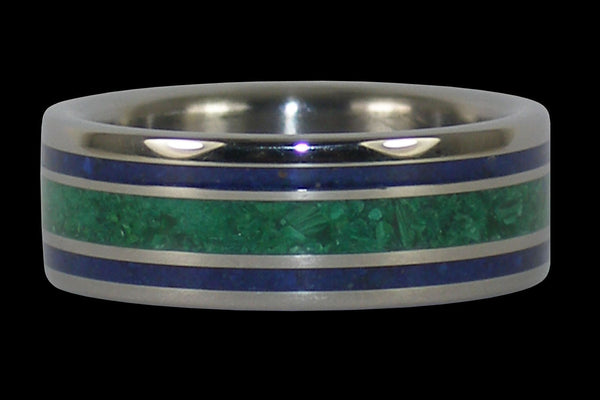 Blue Lapis and Malachite Titanium Ring