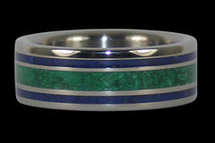 Blue Lapis and Malachite Titanium Ring - Hawaii Titanium Rings