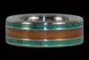 Green Lab Opal and Hawaiian Koa Titanium Ring Set - Hawaii Titanium Rings  - 2