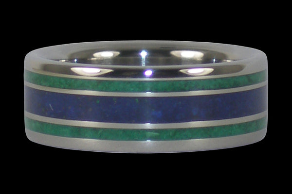 Malachite and Lapis Titanium Rings