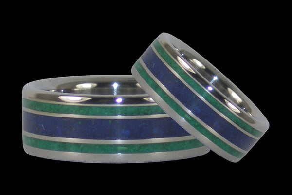 Lapis and Malachite Titanium Rings