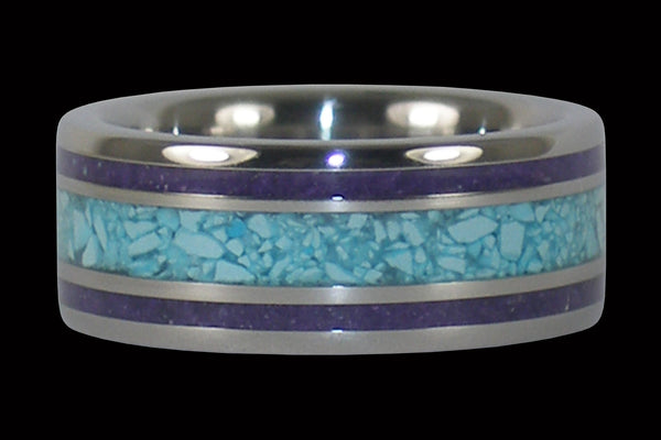 Sleeping Beauty Turquoise and Sugilite Titanium Ring