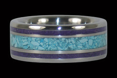 Sleeping Beauty Turquoise and Sugilite Titanium Ring - Hawaii Titanium Rings  - 1