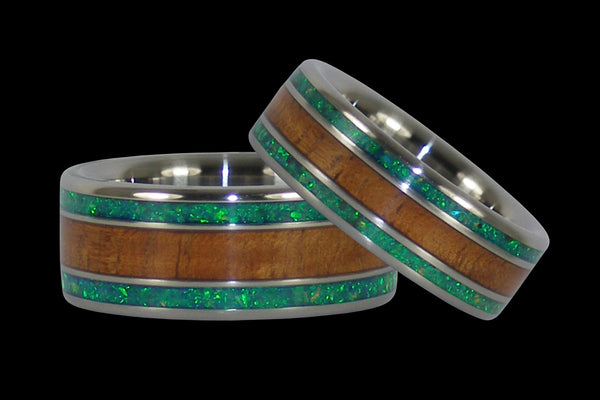 Green Lab Opal and Hawaiian Koa Titanium Ring Set From Hawaii Titanium Rings®