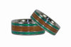 Green Lab Opal and Hawaiian Koa Titanium Ring Set - Hawaii Titanium Rings  - 4