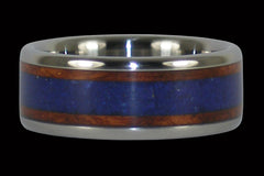 Amboina Burl Wood and Lapis Titanium Rings - Hawaii Titanium Rings  - 1