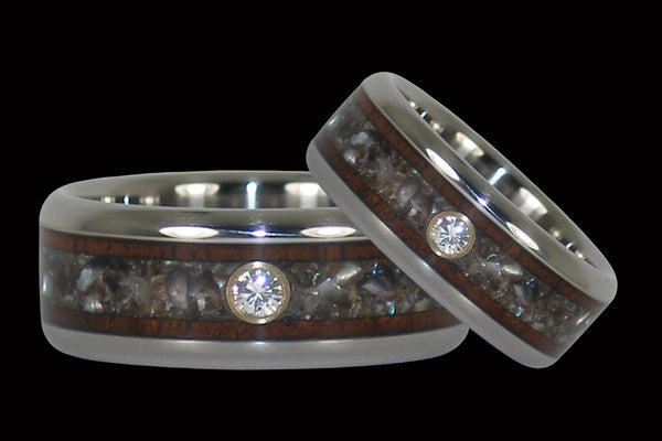 Black Pearl and Koa Diamond Hawaii Titanium Rings®