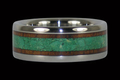Green Turquoise and Koa Wood Titanium Ring - Hawaii Titanium Rings