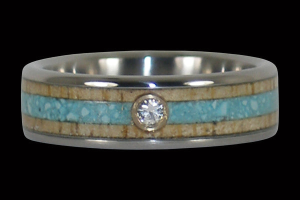 Diamond Titanium Ring Band with Turquoise and Mango Wood