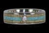 Diamond Titanium Ring Band with Turquoise and Mango Wood - Hawaii Titanium Rings  - 1