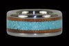 Koa and Turquoise Titanium Ring Band - Hawaii Titanium Rings
