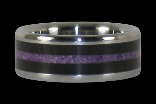 Black Wood and Purple Sugilite Hawaii Titanium Ring®