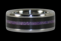 Black Wood and Purple Sugilite Titanium Ring - Hawaii Titanium Rings  - 1