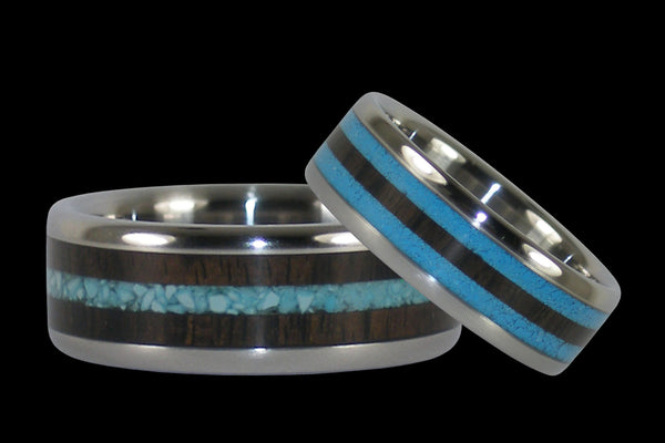 Turquoise and Blackwood Titanium Ring Set