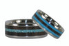Turquoise and Blackwood Titanium Ring Set - Hawaii Titanium Rings  - 4