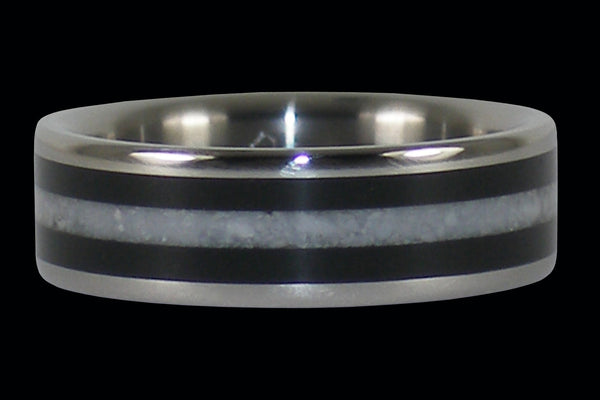 White Coral and Black Wood Titanium Ring Band