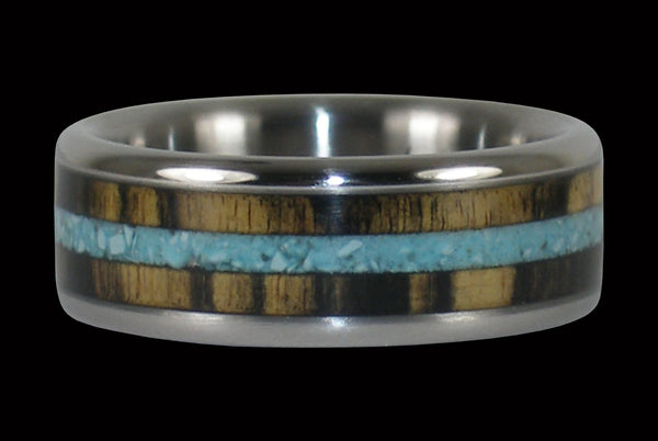 Black and White Ebony with Turquoise Titanium Ring