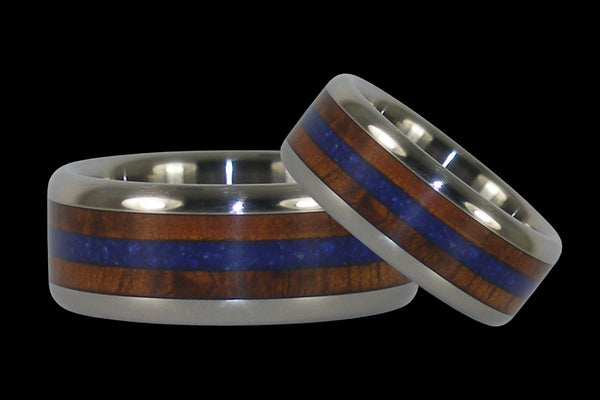 Blue Lapis and Koa Wood Titanium Wedding Rings