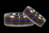 Blue Lapis and Koa Wood Titanium Wedding Rings - Hawaii Titanium Rings  - 1