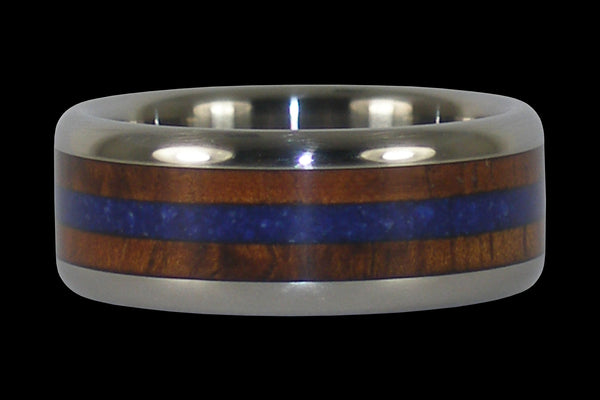 Blue Lapis and Hawaiian Koa Wood Titanium Ring