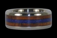Blue Lapis and Hawaiian Koa Wood Titanium Ring - Hawaii Titanium Rings  - 1