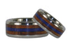 Blue Lapis and Koa Wood Titanium Wedding Rings - Hawaii Titanium Rings  - 4
