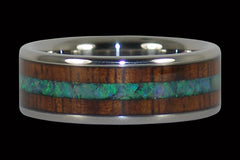 Green Opal and Koa Wood Titanium Ring Band - Hawaii Titanium Rings  - 1