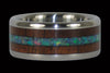 Australian Opal and Hawaiian Koa Titanium Ring Set - Hawaii Titanium Rings  - 6