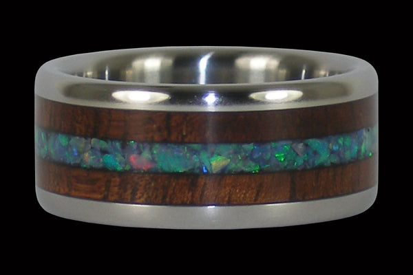 Dark Koa and Australian Opal Titanium Rings