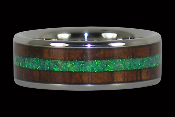 Green Lab Opal and Dark Wood Titanium Ring