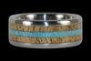 Mango Wood and Turquoise Titanium Ring Set - Hawaii Titanium Rings  - 3