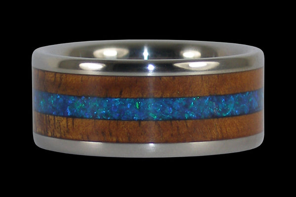 Hawaii Titanium Ring® with Synthetic Opal and Koa Wood