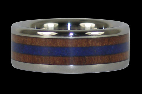 Walnut and Lapis Titanium Ring