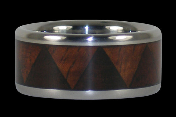 Tribal Titanium Ring with Exotic Wood Inlay