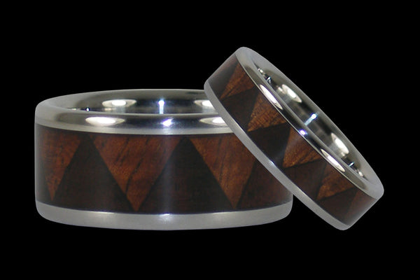 Tribal Pattern Titanium Hawaiian Wood Ring Set