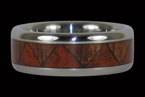 Hawaiian Wood Tribal Drum Titanium Ring