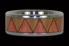 Pink Ivory Tribal Titanium Ring - Hawaii Titanium Rings