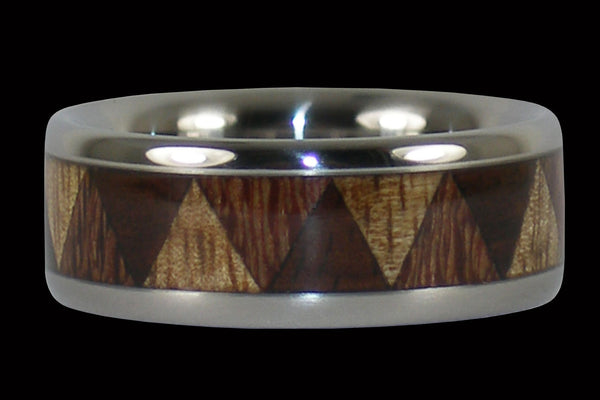Triple Wood Titanium Tribal Ring